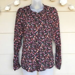 Maeve Anthropologie Floral Button Down Blouse Top
